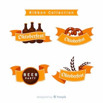 Colección de cintas de oktoberfest en diseño plano