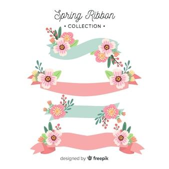 Colección cintas primavera dibujadas a mano