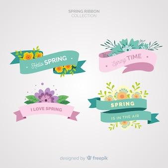 Colección de cintas de primavera en diseño plano