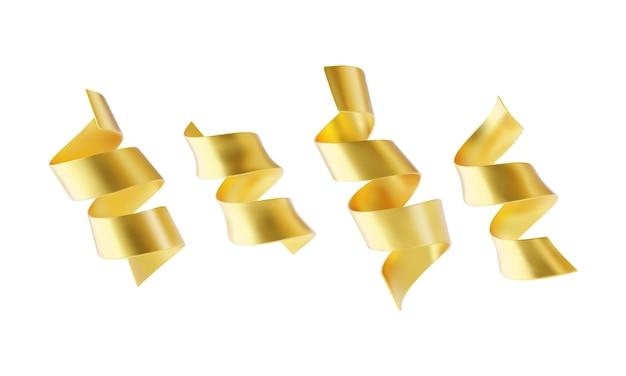 Colección de cintas serpantinas doradas aisladas sobre fondo blanco.