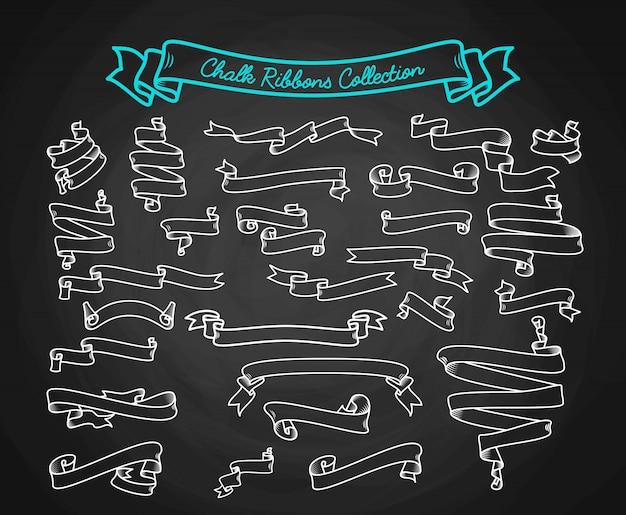Colección de cintas de tiza mano dibujar en pizarra