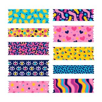 Colección de cintas washi dibujadas a mano
