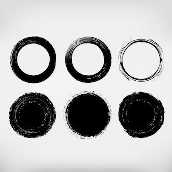 Colección de círculos pintados a mano