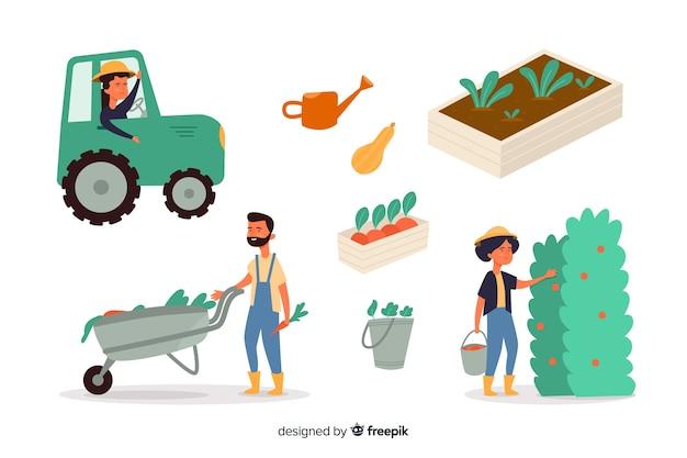 Colección de ciudadanos que trabajan en la agricultura.