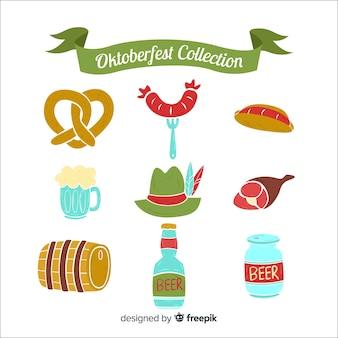 Colección clásica de elementos del oktoberfest con diseño plano