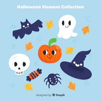 Colección clásica de elementos de halloween dibujados a mano