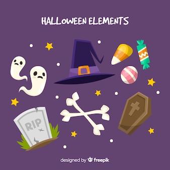 Colección clásica de elementos de halloween con diseño plano