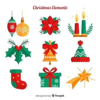 Colección clásica de elementos de navidad con diseño plano