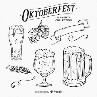 Colección clásica de elementos de oktoberfest dibujados a mano