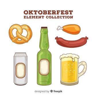 Colección clásica de elementos del oktoberfest dibujados a mano