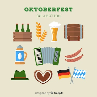 Colección clásica de elementos de oktoberfest con diseño plano