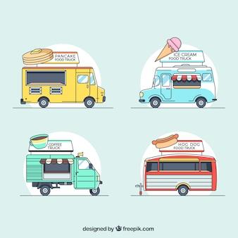 Colección clásica de food trucks dibujados a mano
