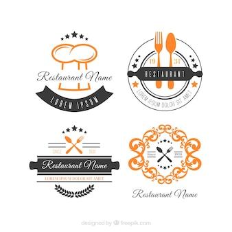 Colección clásica de logos retro de restaurante