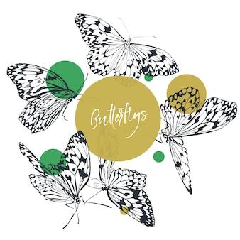 Colección clásica de mariposas en blanco y negro con puntos verdes brillantes.