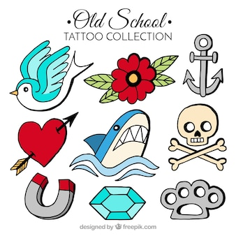 Colección clásica de tatuajes  old school a color