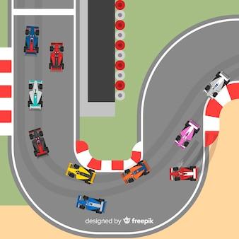 Colección de coches de formula 1 en pista