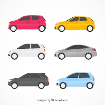 Colección de coches planos con vista lateral