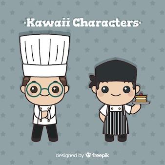 Colección cocineros kawaii dibujados a mano