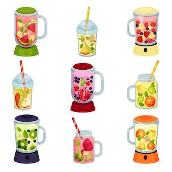 Colección de cóctel de frutas de dibujos animados sobre fondo blanco.