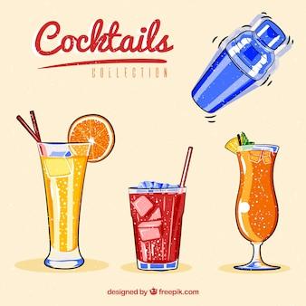 Colección de coctelera y bebidas veraniegas dibujadas a mano