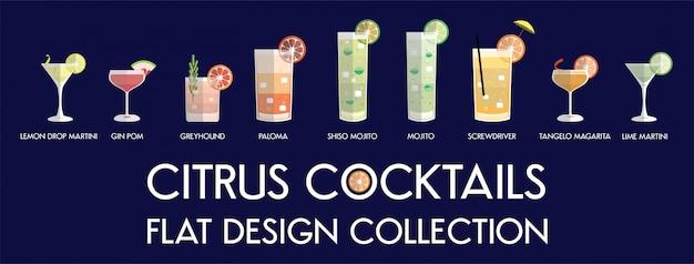 Colección de cócteles de cítricos de diseño plano en vector.