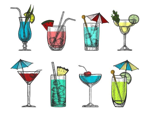 Colección de cócteles coloridos dibujados a mano por vectores.