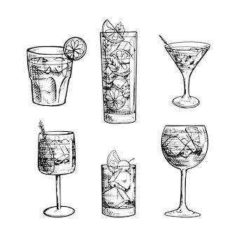 Colección de cócteles dibujados a mano en blanco y negro