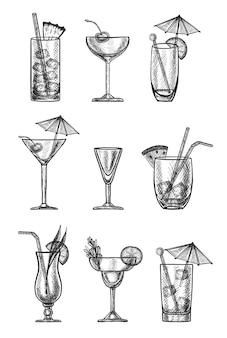 Colección de cócteles dibujados a mano