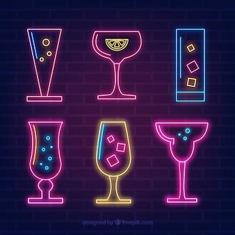 Colección de cócteles con estilo de luces de neón