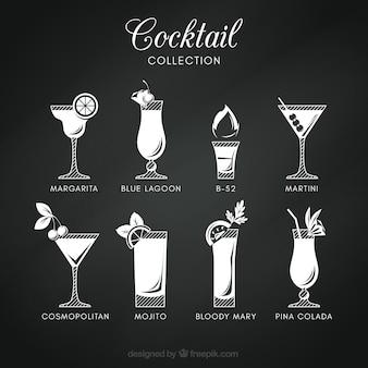 Colección de cócteles en estilo pizarra
