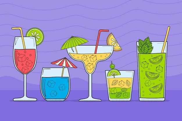 Colección de cócteles exóticos dibujados a mano