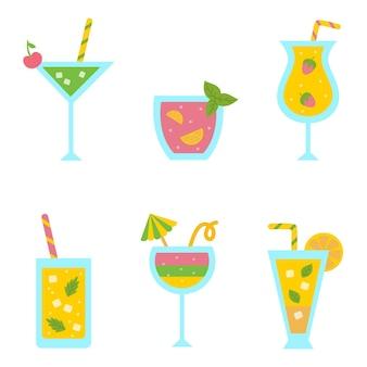 Colección de cócteles lindos y coloridos para fiesta de verano.