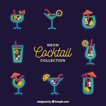 Colección de cócteles con luz de neón