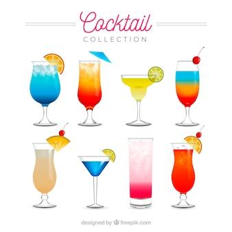 Colección de cócteles refrescantes en estilo realista