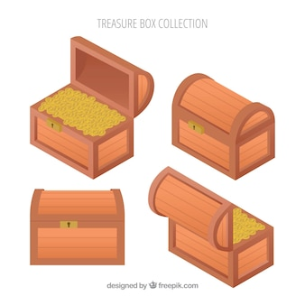 Colección de cofres antiguos del tesoro con diseño plano