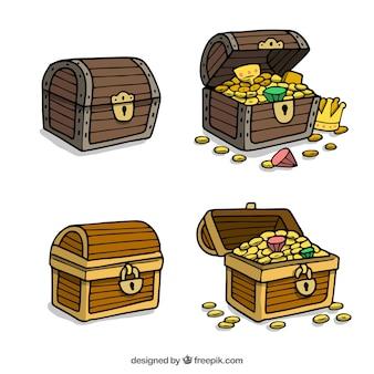 Colección de cofres del tesoro dibujados a mano