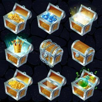Colección de cofres del tesoro isométricos