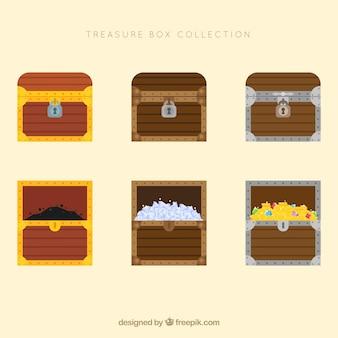Colección de cofres del tesoro de madera con diseño plano