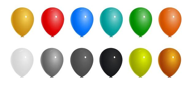 Colección de colores realistas de globos voladores de cumpleaños para fiestas y celebraciones aisladas