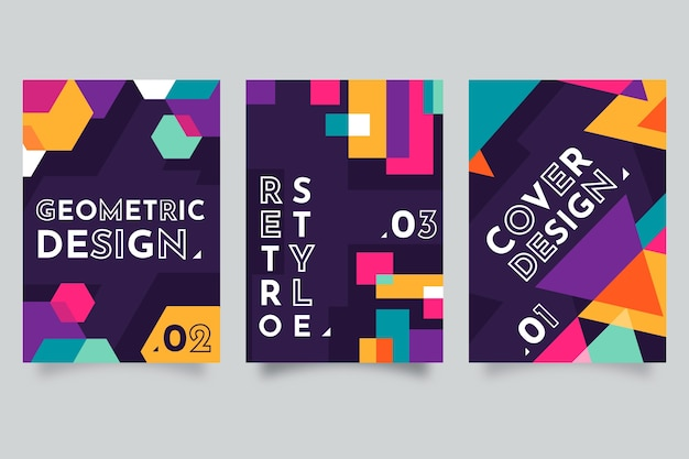 Colección colorida abstracta de la cubierta geométrica