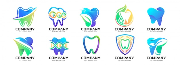 Colección colorida abstracta del logotipo de la clínica dental médica