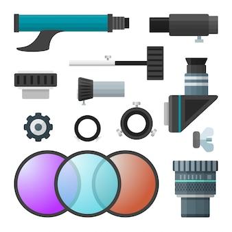 Colección colorida de accesorios para telescopios