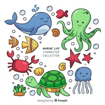 Colección colorida de animales marinos kawaii
