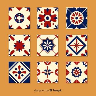 Colección colorida de azulejos con diseño plano