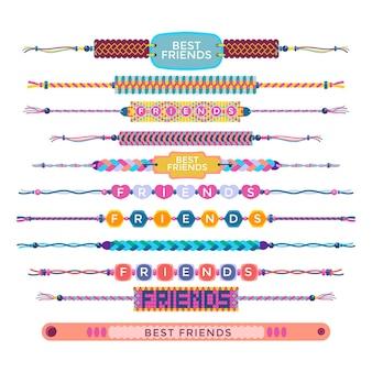 Colección colorida de bandas de la amistad