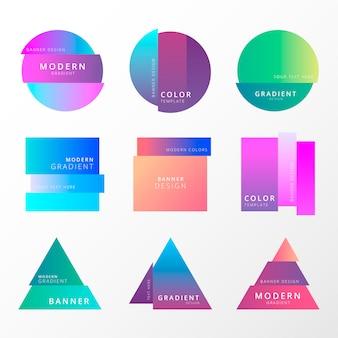 Colección colorida de la bandera del gradiente