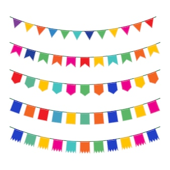 Colección colorida de banderines