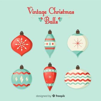 Colección colorida de bolas de navidad con estilo vintage