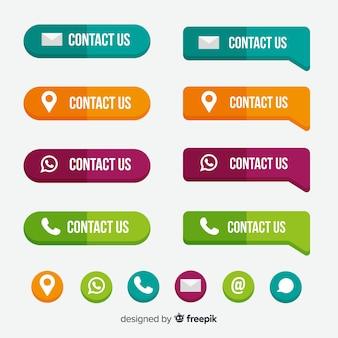 Colección colorida de botones para diseño web con diseño plano