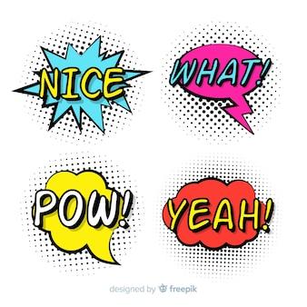 Colección colorida de burbujas de discurso cómico